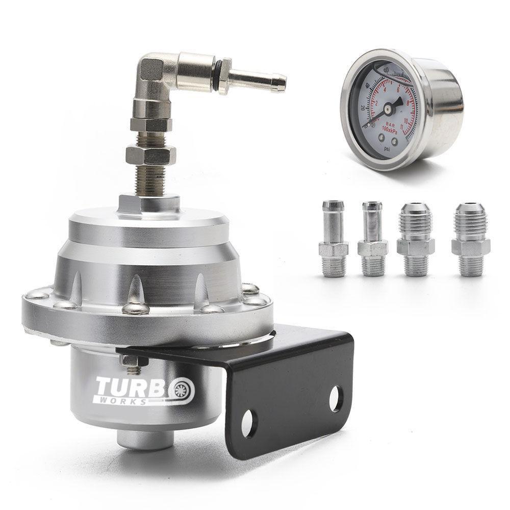 Regulator ciśnienia paliwa TurboWorks AN6 + zegar SILVER - GRUBYGARAGE - Sklep Tuningowy